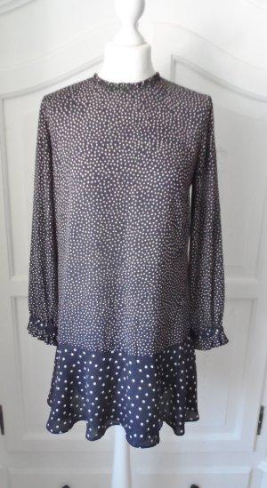 edles ZARA Basic Collecton Kleid / Tunika Gr. S Dunkelblau Beige nur 2 x getragen