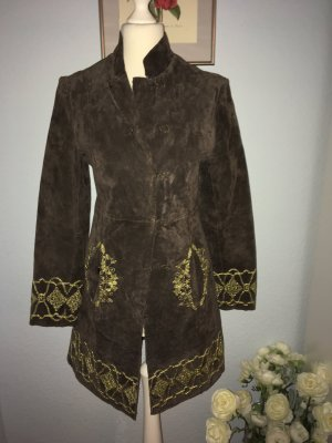 Cappotto in pelle marrone-nero