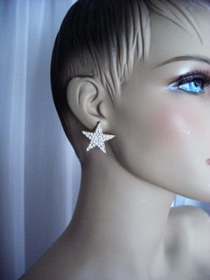 Ear stud white-gold-colored