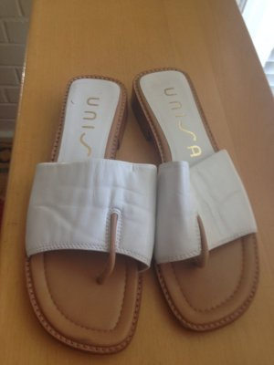 Unisa T-Strap Sandals white leather