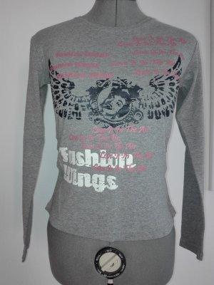 Ein langarm T-Shirt in hell-grau Farbe,aus  Baumwolle-viscose Mischung