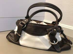 Coccinelle Pouch Bag white-dark brown leather