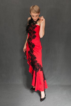 Cocktail Dress red-black polyester