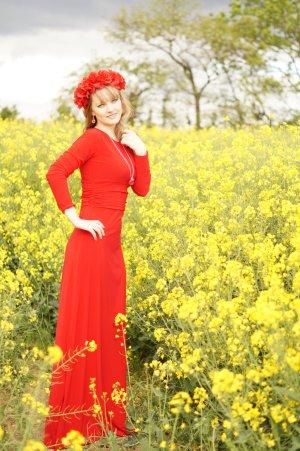 Ein sehr schönes rotes Kleid, Bodenlang Gr. 36