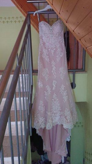 Vestido de novia rosa empolvado-blanco puro Poliéster