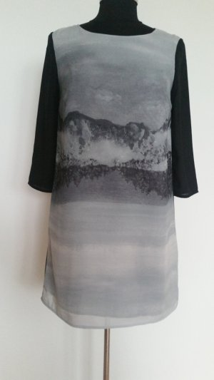 H&M Midi Dress silver-colored-black polyester