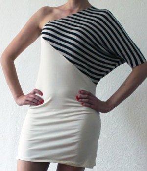 Einärmliges Stretchkleid in creme mit Streifen - M