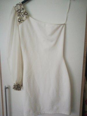 einärmliges weises Kleid mit braunen Steinchen