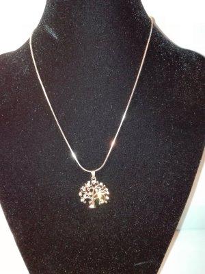 Eine schöne,moderne Halskette in Gold-Farbe,mit Lebensbaum Anhänger,mit Kristall