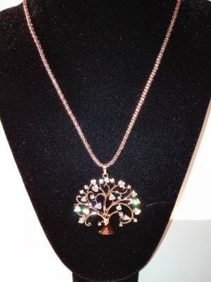 Eine schöne,moderne,lange Halskette,mit Lebensbaum Anhänger,in Gold-Farbe.