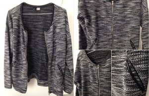 eine schwarz weiß Strickjacke mit Reißverschluss von H&M