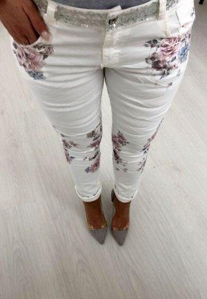 Eine TRAUM Hose - Hüfthose mit BLING BLING Gürtel Silber Steinchen Pailletten + Blumenprint Flower Muster Blogger Skinny Röhre Hippie Stretch Hose  Jogpants Größe M 38/40