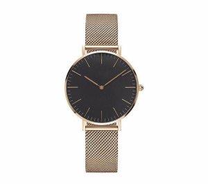 Horloge met metalen riempje licht beige-nude