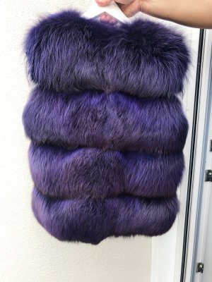 Chaqueta de piel violeta oscuro-violeta azulado