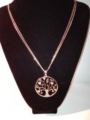Eine wunderschöne,moderne,lange Halskette in Gold-Farbe,mit Lebensbaum Anhänger.