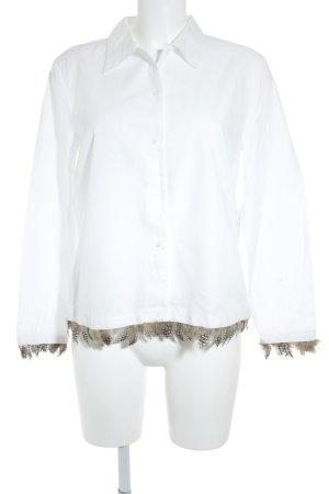 Einhorn Langarm-Bluse weiß-dunkelbraun Elegant