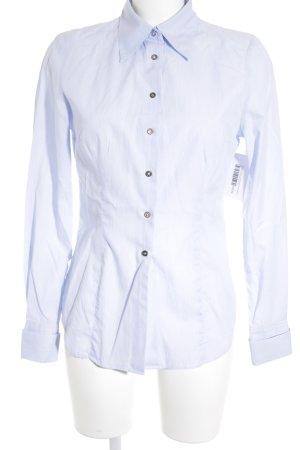 Einhorn Langarmhemd weiß-himmelblau Streifenmuster Metallknöpfe