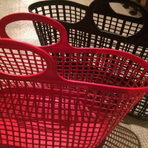 Vintage Bolso tipo cesta negro-rojo