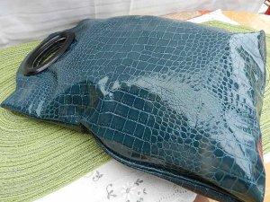 Einkaufstasche Shopper Shopping Bag - Lack/Kroko Optik - dunkelgrün - türkis