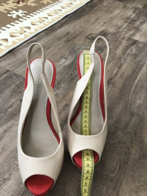 Zara Escarpins beige clair-rouge