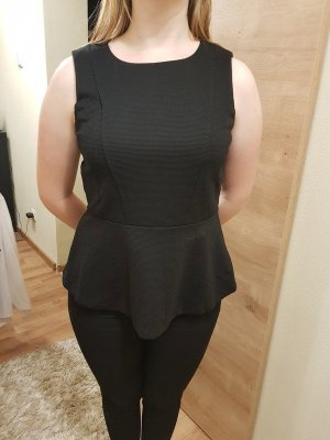 einmal getragenes schwarzes Peplumtop von H&M