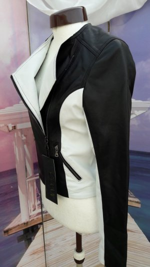 Veste motard noir-blanc cuir