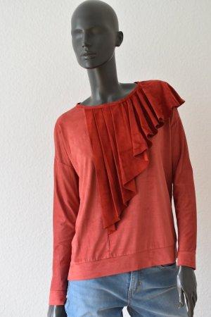 Einzelstück/Unikat Damen Pullover  samtig Echtleder Detail