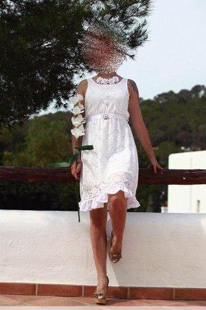 Einzelstück weißes Kleid Brautkleid Standesamt Gr. S (34/36)