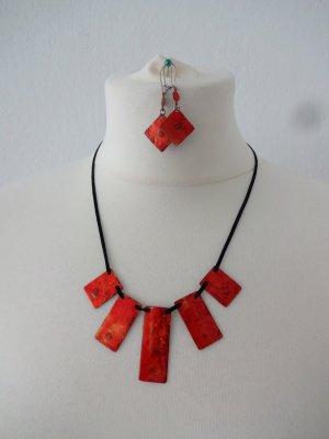 Collar estilo collier naranja neón