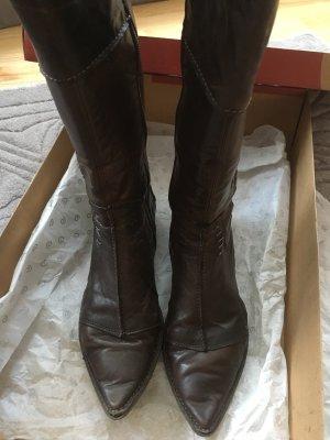 Khrio Botas estilo militar marrón oscuro Cuero