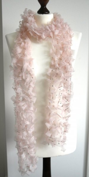 Einzigartiger Haute Couture Schal von Ralph Lauren Collection, handgefertigt mit Tüll und Pailletten in rosé