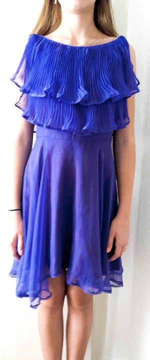 Einzigartiges Chiffon Kleid mit effektvollen Plisseefalten-Volants in purple, Gr.34, von YVETTE