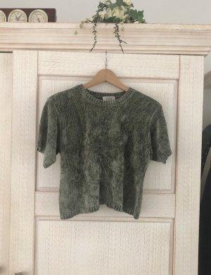 Vintage Camisa recortada caqui-verde grisáceo