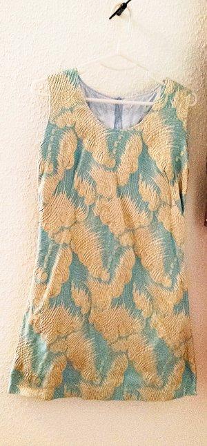 Einzigartiges Vintage Jacquard Kleid mit aufwendig gewebter 3D-Struktur in Metallic-Look, türkis/gold, Gr. 36