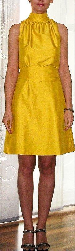 Off the shoulder jurk geel Zijde
