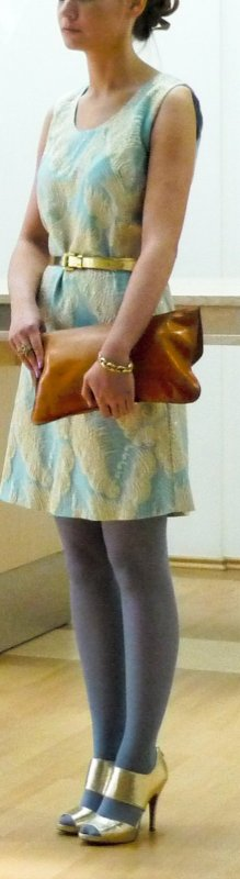 Einzigartiges Vintage Kleid in türkis/gold mit aufwendig gewebter 3D-Struktur, Gr. 36