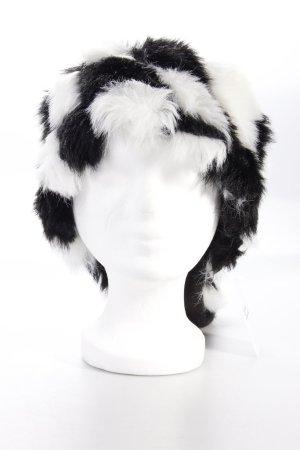 Eisbär Fellimitat-Mütze schwarz weiß