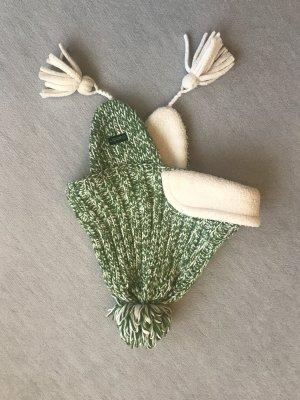 Eisbär Cappello a maglia verde-bianco sporco