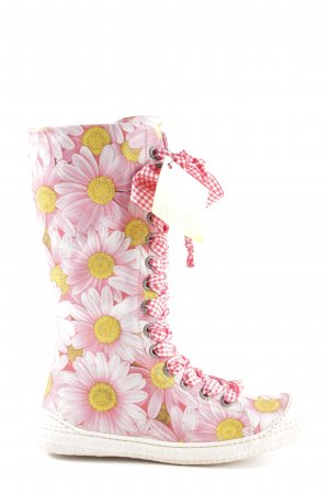 Eject Lace-up Boots pink flower pattern street-fashion look