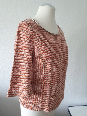 Eklektik 3/4-Arm Bluse mit Metallperlen am Ausschnitt