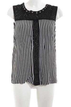 Eksept Blusentop schwarz-weiß Streifenmuster Casual-Look