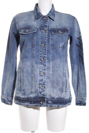 Eksept Jeansjacke blau Schriftzug gestickt Casual-Look