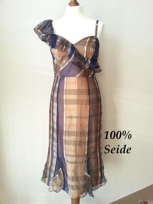 El Caballo One/Cold Shoulder Kleid in 36, Seide, Braun/Blau, NEU