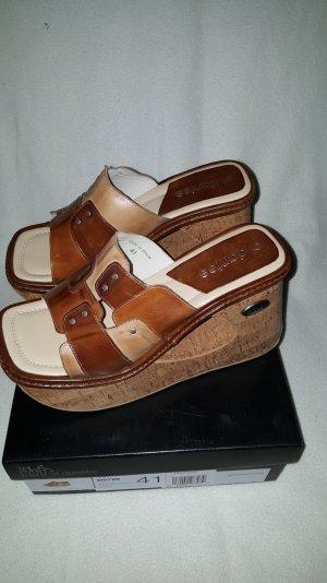 Heel Pantolettes light brown leather