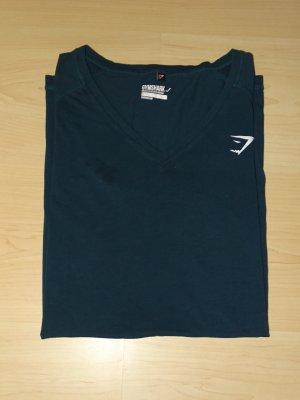 Elan T-Shirt V-Ausschnitt Kurzarm Petrol Gr. L Gymshark (NP: 25€)