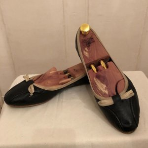 Ballerinas black-cream leather
