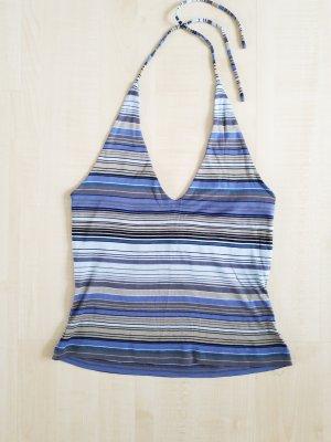 elastisches jenasblau-ocker- schwarz gestreiftes Armani Neckholder Shirt
