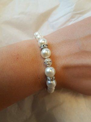 Elastisches Perlen-Armband mit Glitzer-Steinchen (selbstgemacht)