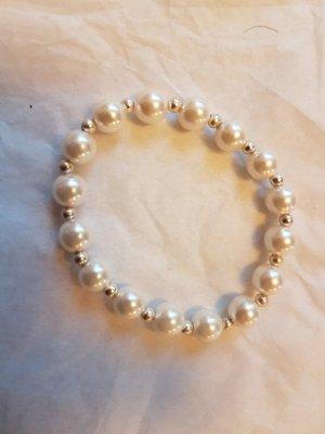 Elastisches Perlen-Armband mit Silber-Küglelchen (selbstgemacht)