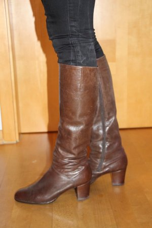 Stretch Boots cognac-coloured